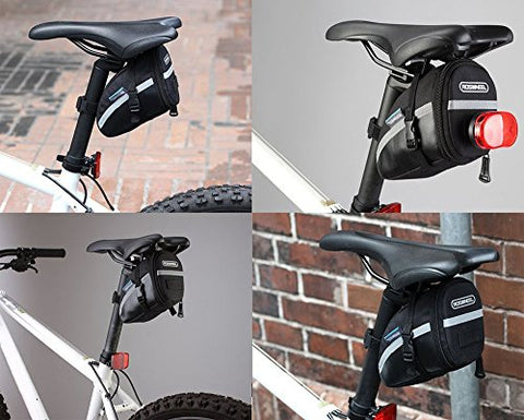 CestMall 1.2L Bicycle & MTB Cycling PU Saddle Bag, Waterproof Bike Bag Back Seat Pouch, Bicycle Repair Tools Pocket Pack with Reflective Stripes (New Black) - Gasbike.net