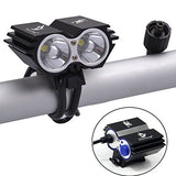 Nestling X2 CREE XM-L U2 LED Rechargeable Waterproof 5000Lm Black Bicycle Bike light headlamp + 1x Free 5 LED tail light with Install Holder + Charger Battery
