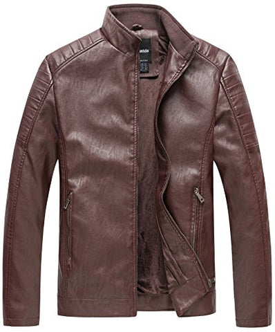 Wantdo Men's Vintage Stand Collar Motorcycle Leather Jacket