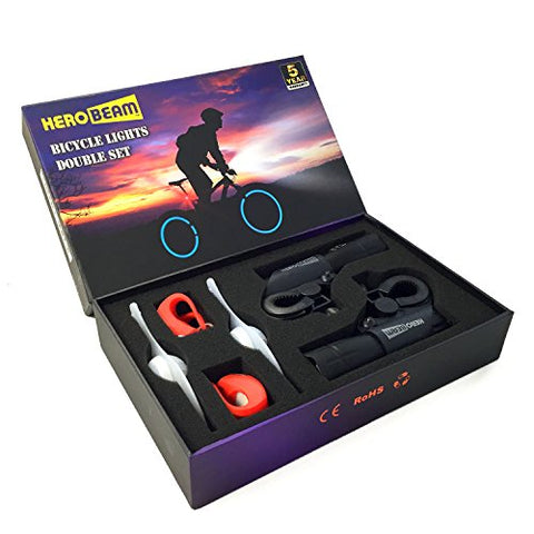 HeroBeam Bike Lights Double Set - The Ultimate Lighting and Safety Pack of Super Bright Front Bicycle Lights, Tail Lights and Wheel Lights - 5 Year Warranty - PERFECT XMAS GIFT FOR A CYCLIST
