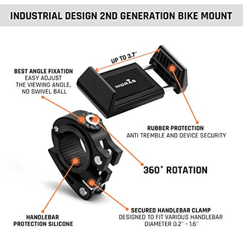 Widras New Bike Mount and Motorcycle Cell Phone Holder 2nd Generation For iPhone X 8 7 7s 6 6s 5 5s Plus Samsung Galaxy S5 S6 S7 S8 Note or any Smartphone GPS Mountain Road Bicycle Handlebar Cradle - Gasbike.net