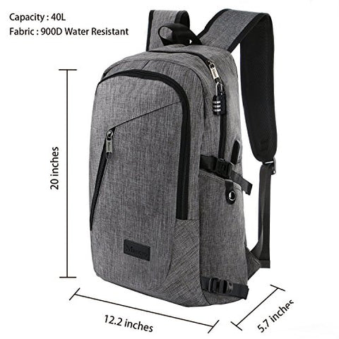 "Business Laptop Backpack, Slim Anti Theft Computer Bag, Water-resistent College School Backpack, Eco-friendly Travel Shoulder Bag w/ USB Charging Port Fits UNDER 17"" Laptop & Notebook by Mancro (Grey) - Gasbike.net"
