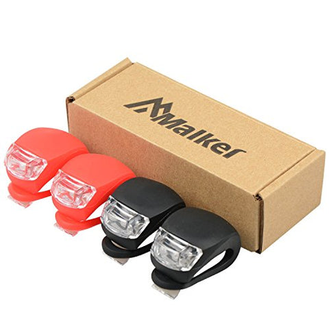 Malker Bicycle Light Front and Rear Silicone LED Bike Light Set - Bike Headlight and Taillight,Waterproof & Safety Road,Mountain Bike Lights,Batteries Included,4 Pack