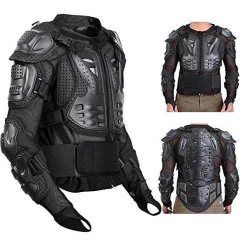 Webetop Mens Mesh Motorcycle Protective Jacket With Armor Full Body Spine Chest Shoulder Arm Protector Gear for Motorbike Motorcross Racing MTB Black M