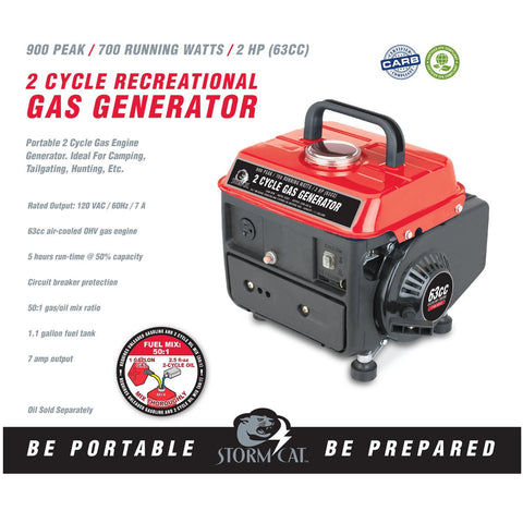 900 Peak/700 Running Watts, 2 HP (63cc) 2 Cycle Gas Generator EPA/CARB