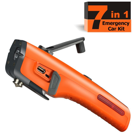 Emergency Tool Kit with LED Flashlight & USB Charger 7-in-1 Rescue Tool Vehicle Emergency Escape Tool with Window Breaker & Seat Belt Cutter Car Safety Hammer for Roadside / Automotive Emergency Kit - Gasbike.net