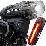 Blitzu Gator 320 PRO USB Rechargeable Bike Light Set POWERFUL Lumens Bicycle Headlight FREE TAIL LIGHT, LED Front and Back Rear Lights Easy To Install for Kids Men Women Road Cycling Safety Flashlight - Gasbike.net