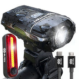 Blitzu Gator 380 USB Rechargeable Bike Light Set POWERFUL Lumens Bicycle Headlight FREE TAIL LIGHT, LED Front and Back Rear Lights Easy To Install for Kids Men Women Road Cycling Safety Flashlight - Gasbike.net