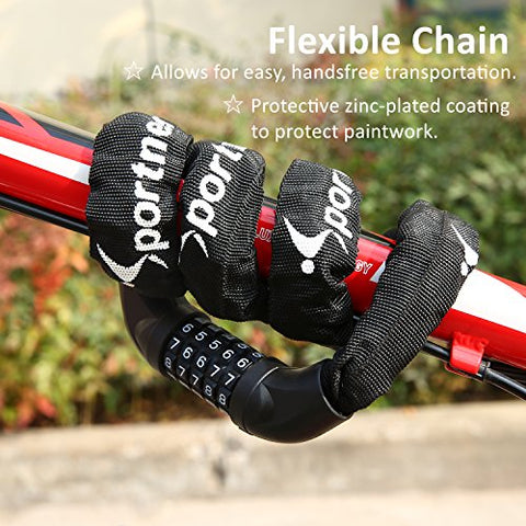Bicycle Chain Lock, Sportneer 5-Digit Resettable Combination Anti-theft Bike Locks - Gasbike.net