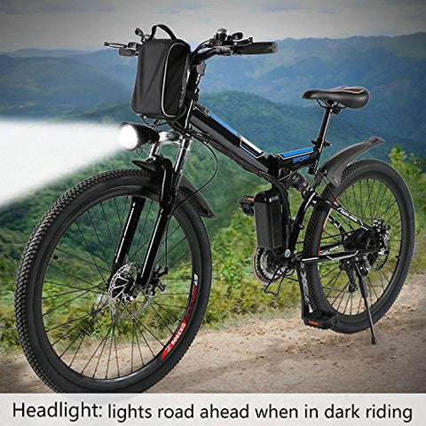 Kaluo Folding Electric Mountain Bike, 26 Inch Wheel, Lithium-Ion Battery, Dual-Suspension and Shimano Gear, 2 Working Mode 【US STOCK】