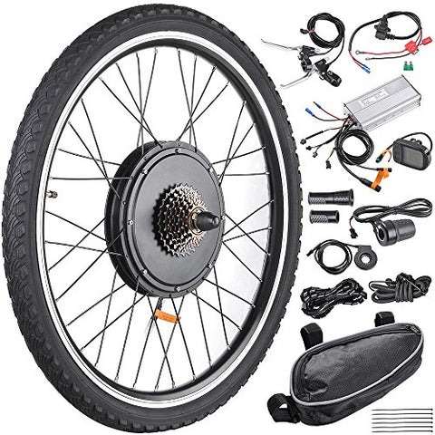 "AW 26""x1.75"" Rear Wheel Electric Bicycle LCD Display Motor Kit E-Bike Conversion 48V1000W - Gasbike.net"
