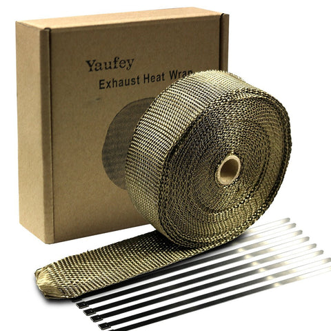 "Exhaust Wrap Titanium Yaufey 2"" x 50 Ft Exhaust Heat Wrap Tap Header Glassfiber Wrap Kit for Automotive Motorcycle with 8 Stainless Ties (Titanium)"