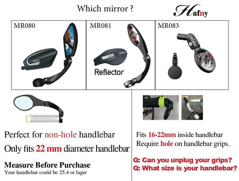 Hafny Handlebar Bike Mirror, Stainless Steel Lens,Safe Rearview Mirror, HF-MR080