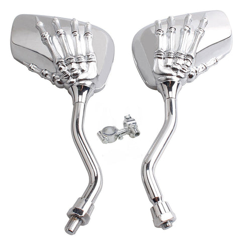 TOPCABIN 1 Pair Bike Bicycle Cycling Rear View Mirror Blindsight Multi Angle Adjustable Billet Aluminum Chrome Plated Outside Rear View Side View Mirrors Skull Claw Style Universal