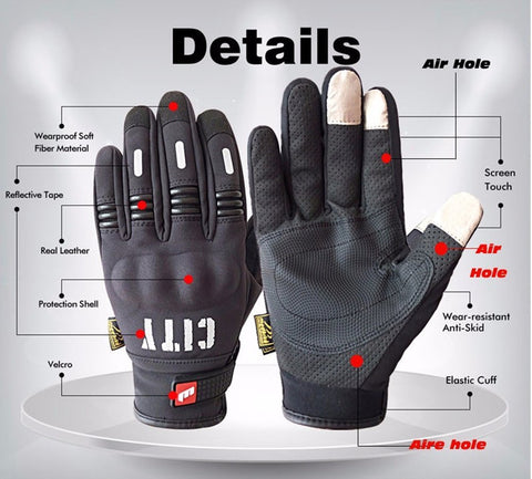 Madbike Stealth Hard Knuckle Motorcycle Gloves Touch Screen Motorbike Powersports Racing Tactical Paintball Black (M) - Gasbike.net