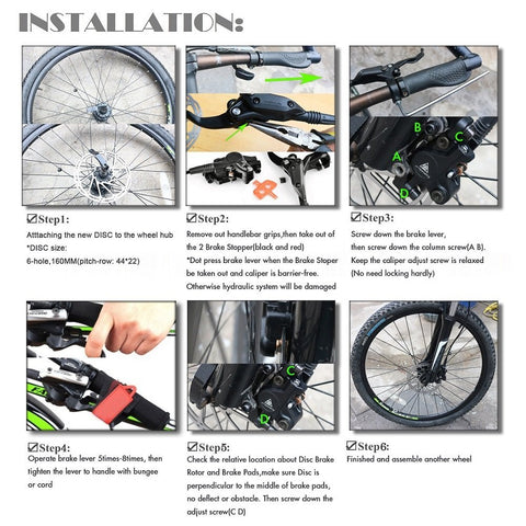 AFTERPARTZ NV-8 Hydraulic Disc Brake Kit for SHIMANO M315 M355 M375 M395 M396 AVID BB5 BB7 800MM Front Brake Cable and 1350MM Rear Brake Cable Black - Gasbike.net