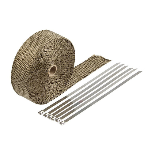 HM&FC Double Thickness Titanium Exhaust Wrap with Size 0.12 Inch (T) 32 Feet (L) 2 Inch (W) with 10 Stainless Zip Ties and Glove - Gasbike.net