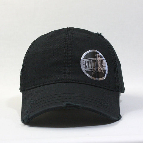 Plain Washed Cotton Twill Distressed with Heavy Stitching Low Profile Adjustable Baseball Cap