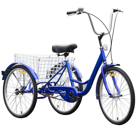 Goplus Adult Tricycle 3-Wheel Bicycle Bike Single Speed Seat Adjustable Trike w/ Bell Brake Basket - Gasbike.net
