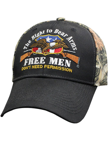 Capsmith Right To Bear Arms Free Men Don't Need Permission Baseball Cap Camo Back - Gasbike.net