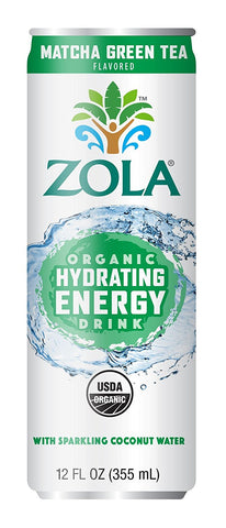 Zola Organic Hydrating Energy Drink, Matcha Green Tea, 12 Ounce (Pack of 12)