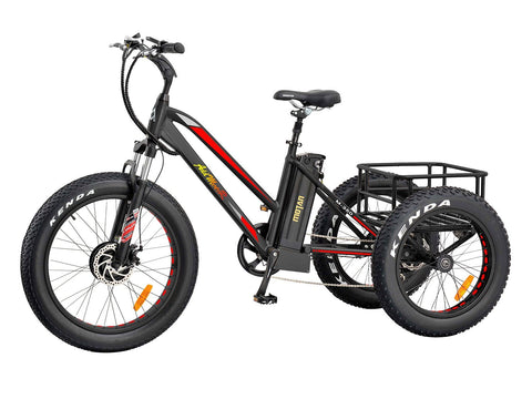 Addmotor Motan Electric Tricycles 24 Inch Fat Tire Electric Bicycle Trike Three Wheel Ebikes 500W 10.4A Lithium Battery Rear Basket Cargo M-350 Ebikes With Supension Fork - Gasbike.net
