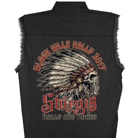 Official 2017 Sturgis Motorcycle Rally Headdress Earth Mens Black Sleeveless Denim