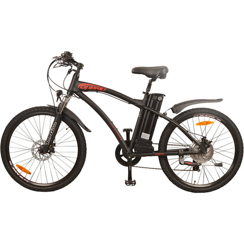 DJ Bikes DJ Mountain Bike 500W 48V 13Ah Power Electric Bicycle, Samsung Lithium-Ion Battery, 7 Speed, Matte Black, LED Bike Light, Fork Suspension And Shimano Gear