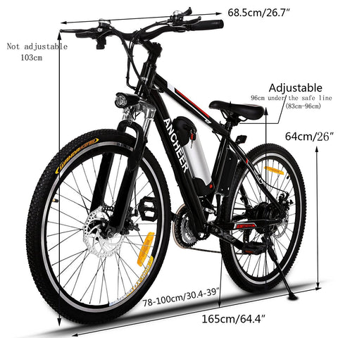 ANCHEER Electric Mountain Bike with 36V, 8AH Removable Lithium-Ion Battery 250W Electric Bike for Adults with Battery Charger - Gasbike.net