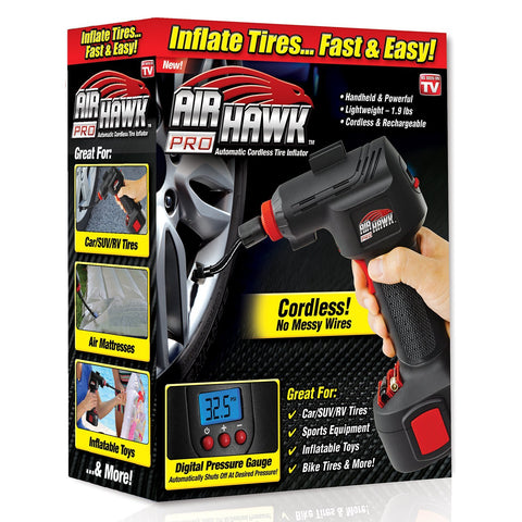 ONTEL  Air Hawk Pro Automatic Cordless Tire Inflator Portable Air Compressor, Easy to Read Digital Pressure Gauge, Built in LED Light - Gasbike.net