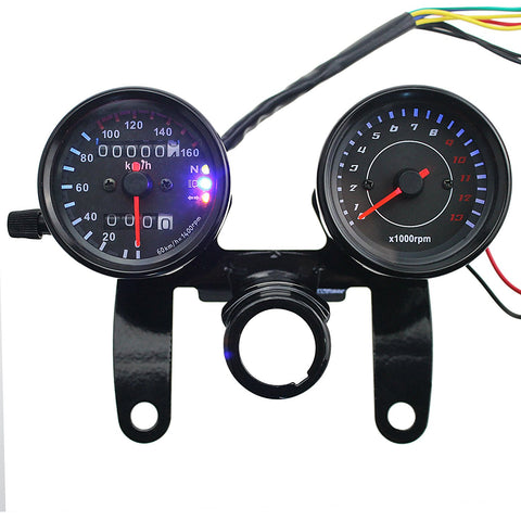 Iztor Motorcycle black Odometer Speedometer and Tachometer with Bracket for Yamaha SR XV RX Cafe Racer Suzuki Honda Kawasaki