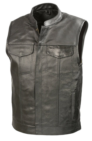 Mens Leather Club Style Vest W/ Concealed Gun Pockets, Cowhide Leather Biker Vest, Single Panel Back (Black, L)