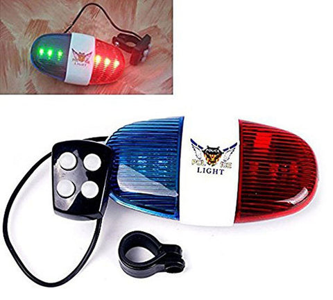 6-LED Strobe Bicycle Safety Light w/ 4-Melody Horn - Blue + Red (FSLV)