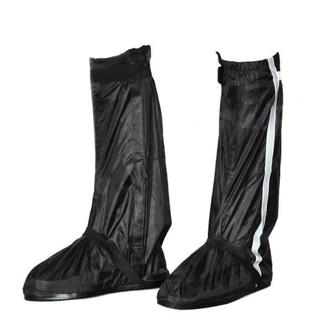 Motorcycle Waterproof Rain Boot Shoes Cover w/ Reflective Tape - Black (Size 40~41) (FSLV)