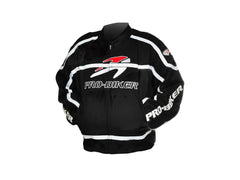 Pro-biker JK-05 Professional Polyester Motorcycle Riding Race Jacket - Black + White (FSLV)