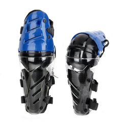 AMT Motorcycle Sports Knee Pad Guard - Blue + Black (Pair)