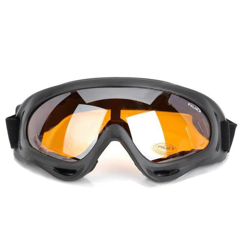 Motorcycle Riding UV400 Protection Windproof Goggles - Black + Tawny (FSLV)