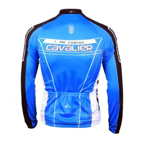 LAMBDA Cycling Bicycle Bike Riding Long Sleeves Suit Jersey - Blue + Black