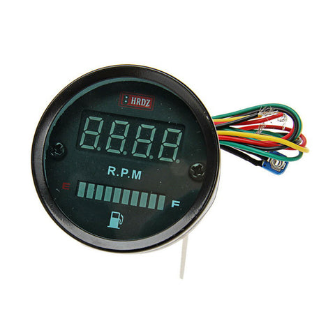 2-in-1 Motorcycle Digital Speed Table LED Fuel Gauge - Black  (FSLV)