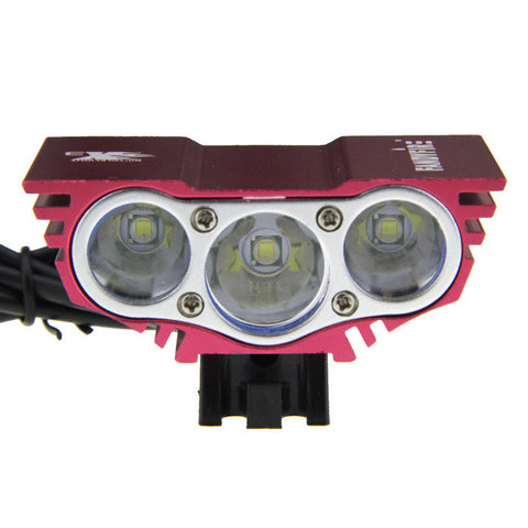 SolarStorm X3 4-Mode White Bike Light w/ 3 x Cree XM-L T6 - Deep Pink (FSLV)