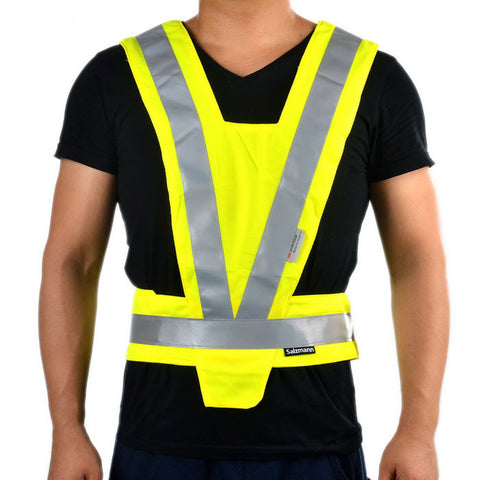 Salzmann 289-1 Safety Reflective Vest for Motorcycle - Silver + Fluorescent Yellow (FSLV)
