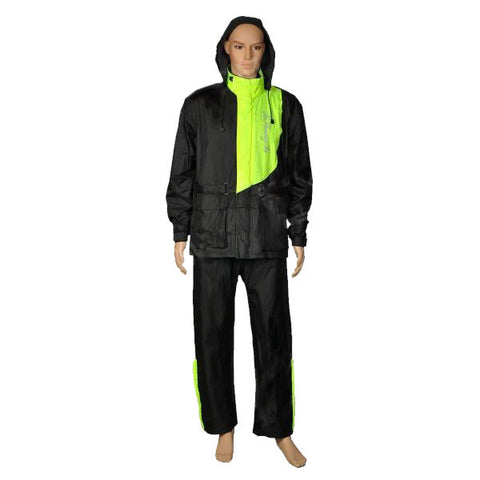 XSX Fashion Adults Motorcycling Waterproof Rain Coat + Pants - Black + Green (FSLV)