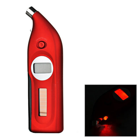 Solar Digital Tire Pressure Gauge w/ Depth Measurer - Red (FSLV)