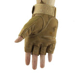 Fashionable Outdoor Cycling Half-finger Motorcycle PU Gloves - Sandy (FSLV)