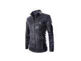 Men's Korean Style Fashionable Slim Collar Double Zipper PU Motorcycle Jacket - Black (FSLV)