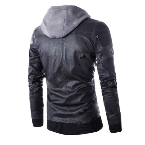 Men's European Style False Two-piece Slim Hooded PU + Cotton Motorcycle Jacket - Black (FSLV)