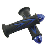 Universal Motorcycle Zinc Alloy Handle Grip Covers - Black + Blue (FSLV)