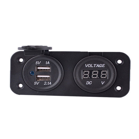 Motorcycle Modified 3.1A Dual USB Charger With 6-33V Voltmeter - Black (FSLV)