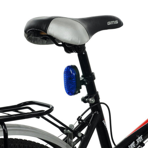 7-LED Blue Bike Tail Light w/ 3-Mode Red Laser Light - Blue + Black (FSLV)
