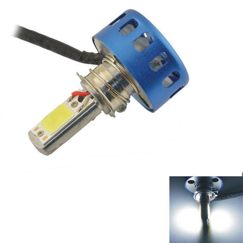 Wired 18W White COB LED Motorcycle Headlamp - Blue + Silver (FSLV)